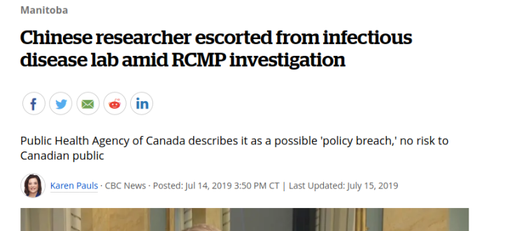Screenshot_2020-04-17 Chinese researcher escorted from infectious disease lab amid RCMP investigation CBC News
